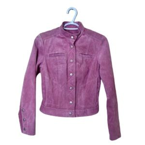 DANIER Suede baby pink bomber jacket